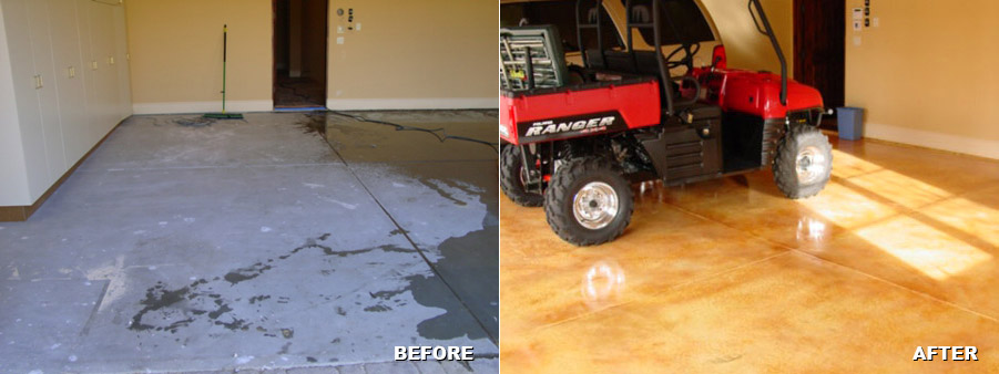 Residential Garage Floor Before and After